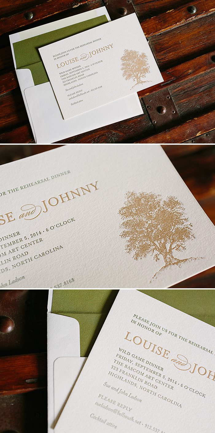 Under the Tree letterpress rehearsal dinner invitations | Bella Figura