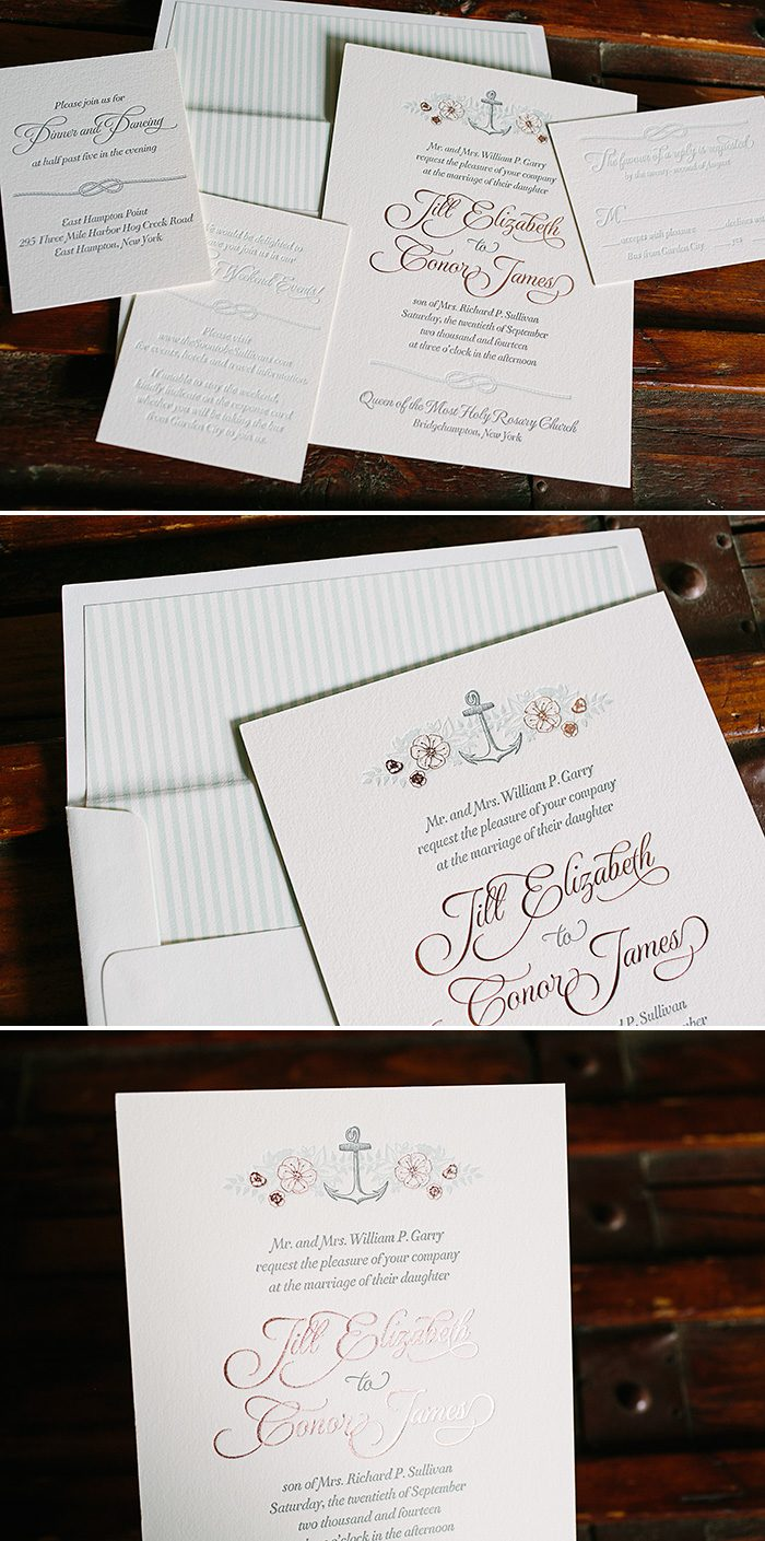 Vintage floral + nautical inspired custom letterpress wedding invitations by Bella Figura