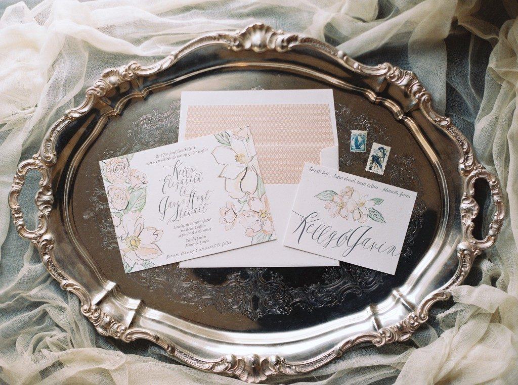 Bella Figura's new English Garden invitation features digital printing + letterpress printing on Bella Figura's Bella Smooth Cotton paper