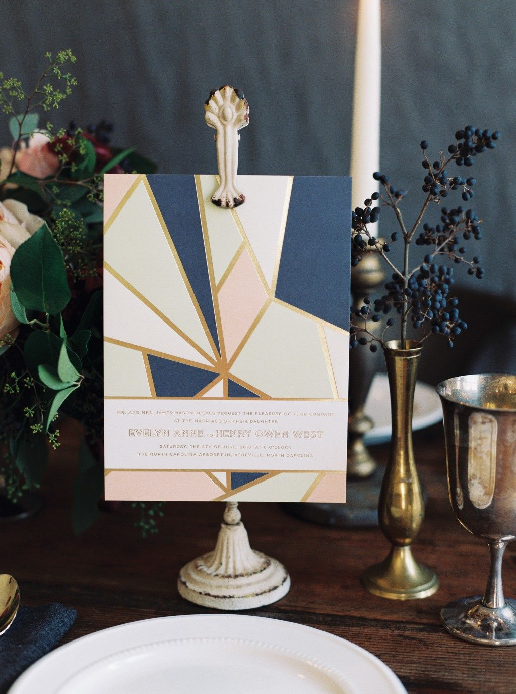 Briolette wedding invitations by Ellie Snow for Bella Figura
