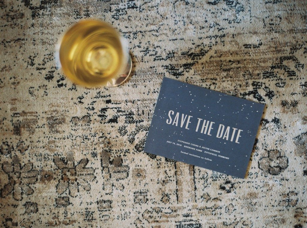 Modern Lumen digitally printed + foil stamped save the dates from Bella Figura