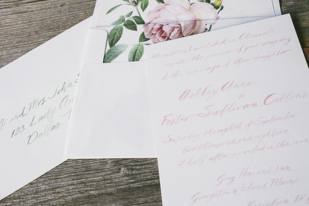 Samantha calligraphy wedding invitations by Nicole Black for Bella Figura