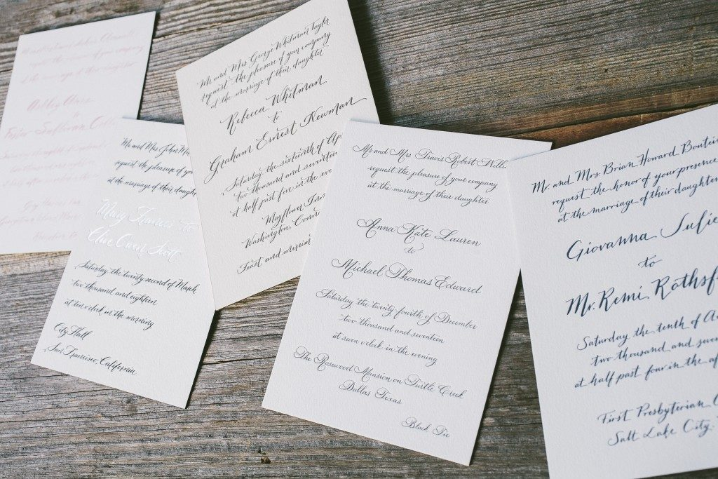 Calligraphy wedding invitations by Nicole Black for Bella Figura