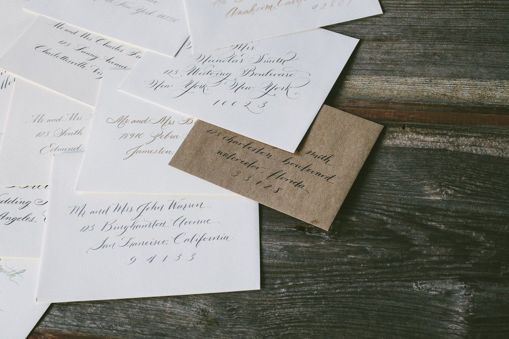 Calligraphed envelopes by Nicole Black