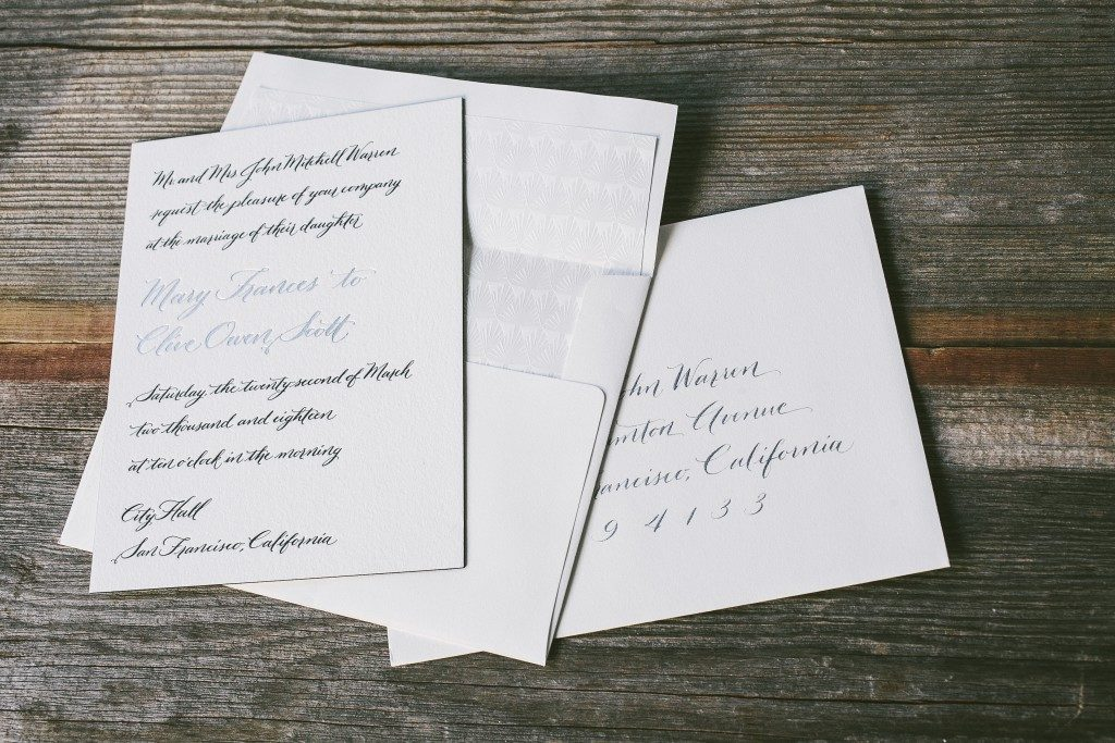 Betsy calligraphy wedding invitations by Nicole Black for Bella Figura