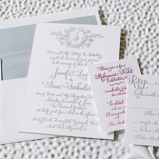Calligraphy wedding invitations from Bella Figura