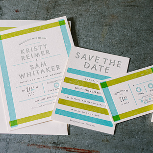 Modern Farmstand wedding invitations and save the dates from Bella Figura