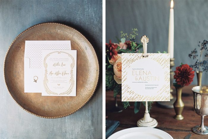 Gold foil stamped wedding invitations from Bella Figura - left: Nightingale; right: Vespera