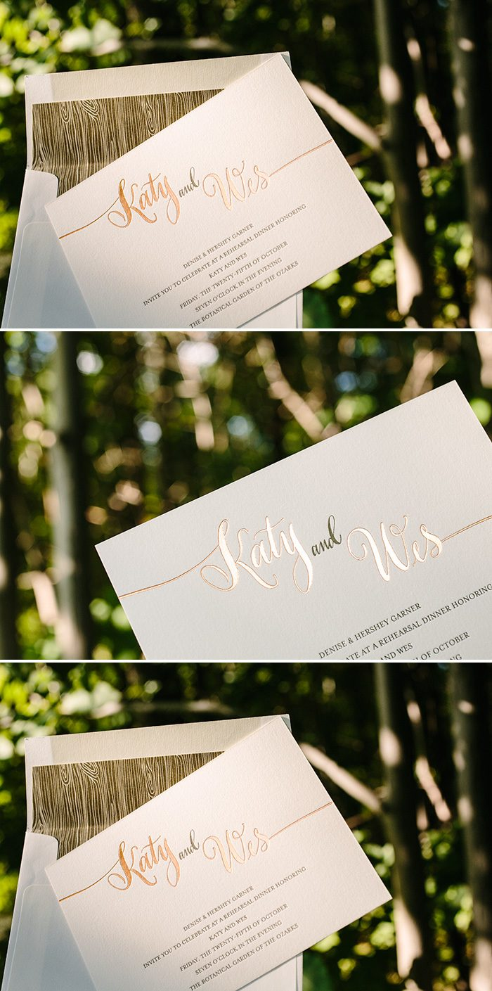 Copper foil and letterpress rehearsal dinner invitations | Bella Figura