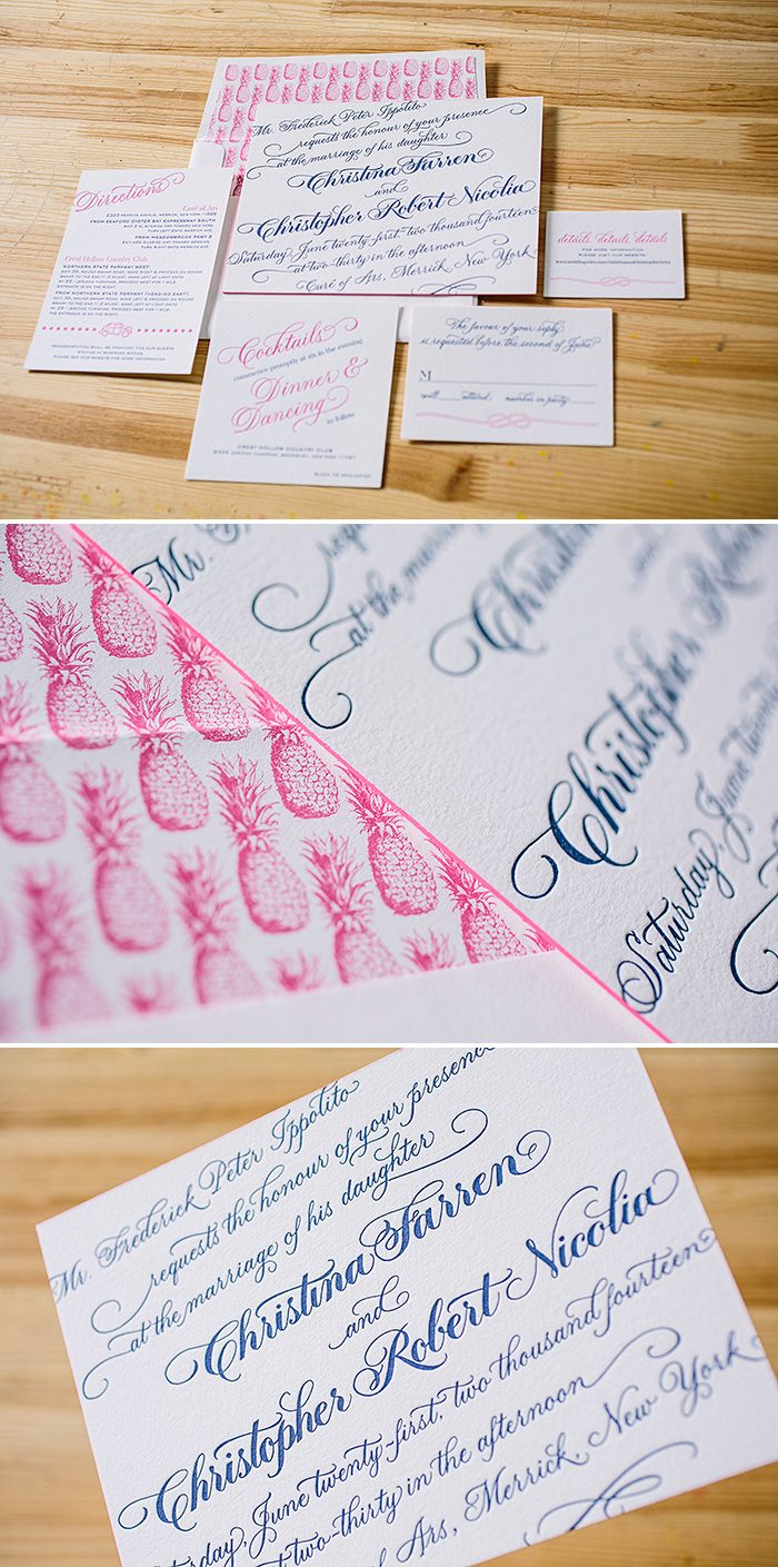 Preppy chic hand calligraphy letterpress wedding invitations | Bella Figura