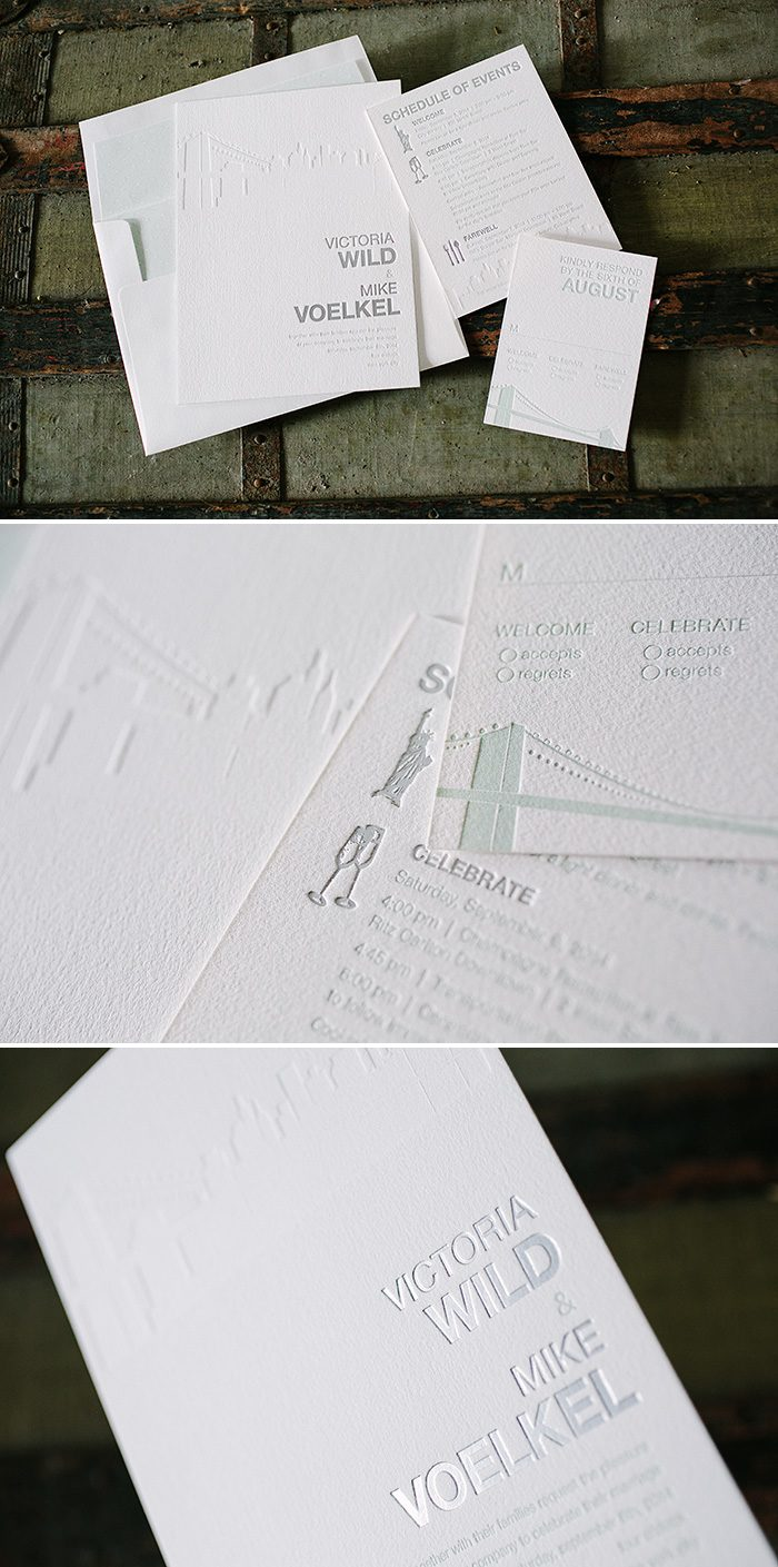 Modern foil + letterpress wedding invitations by Bella Figura