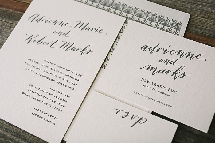 Custom calligraphy letterpress wedding invitations by Bella Figura