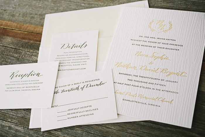 Rustic gold foil and letterpress wedding invitations by Bella Figura