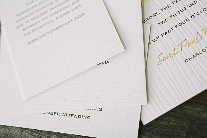 24850_Rustic gold foil and letterpress wedding invitations by Bella Figura