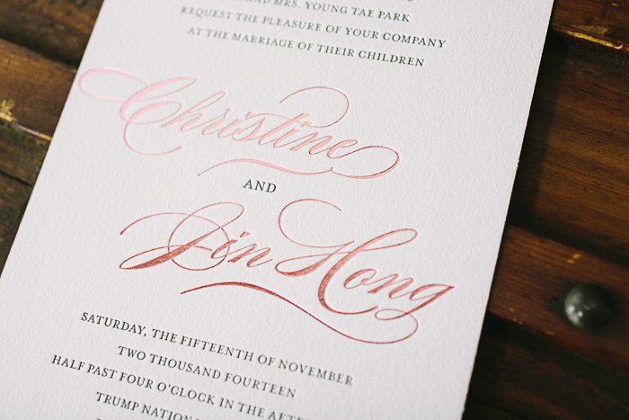 foil edging  bella figura, Wedding invitations
