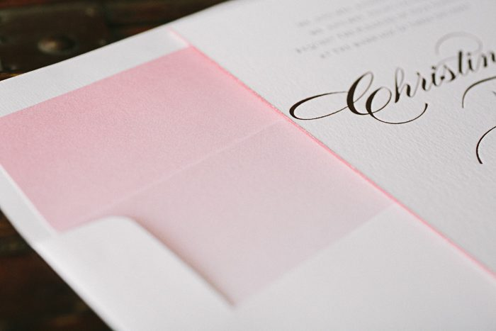 Pink shine foil and letterpress wedding invitations | Bella Figura