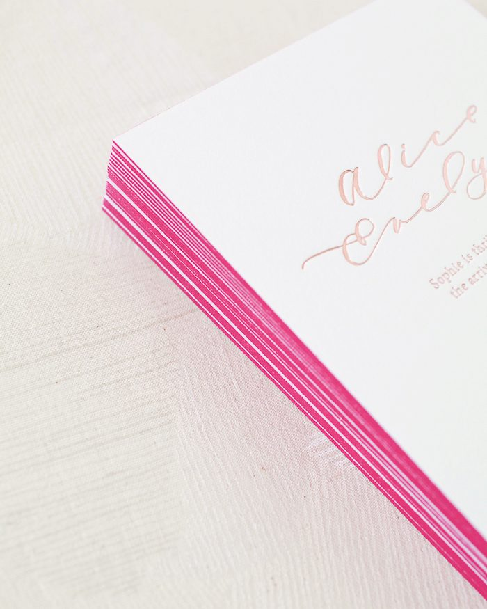 Custom rose gold foil birth announcements with hand painted watercolors and foil stamped envelope liners | Collaboration between Bella Figura + Mon Voir for Oh So Beautiful Paper