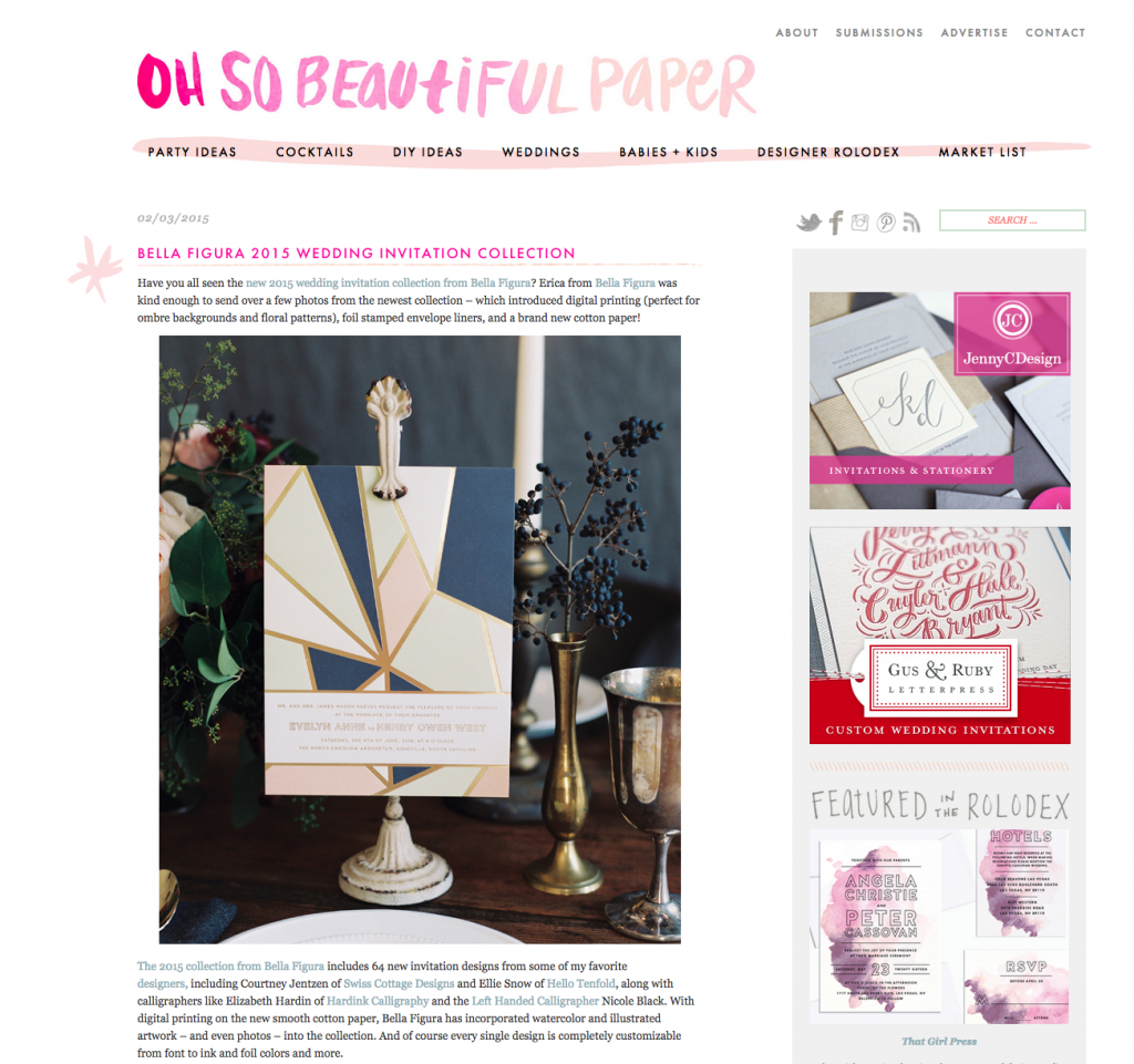 Bella Figura's 2015 Wedding Collection featured on Oh So Beautiful Paper