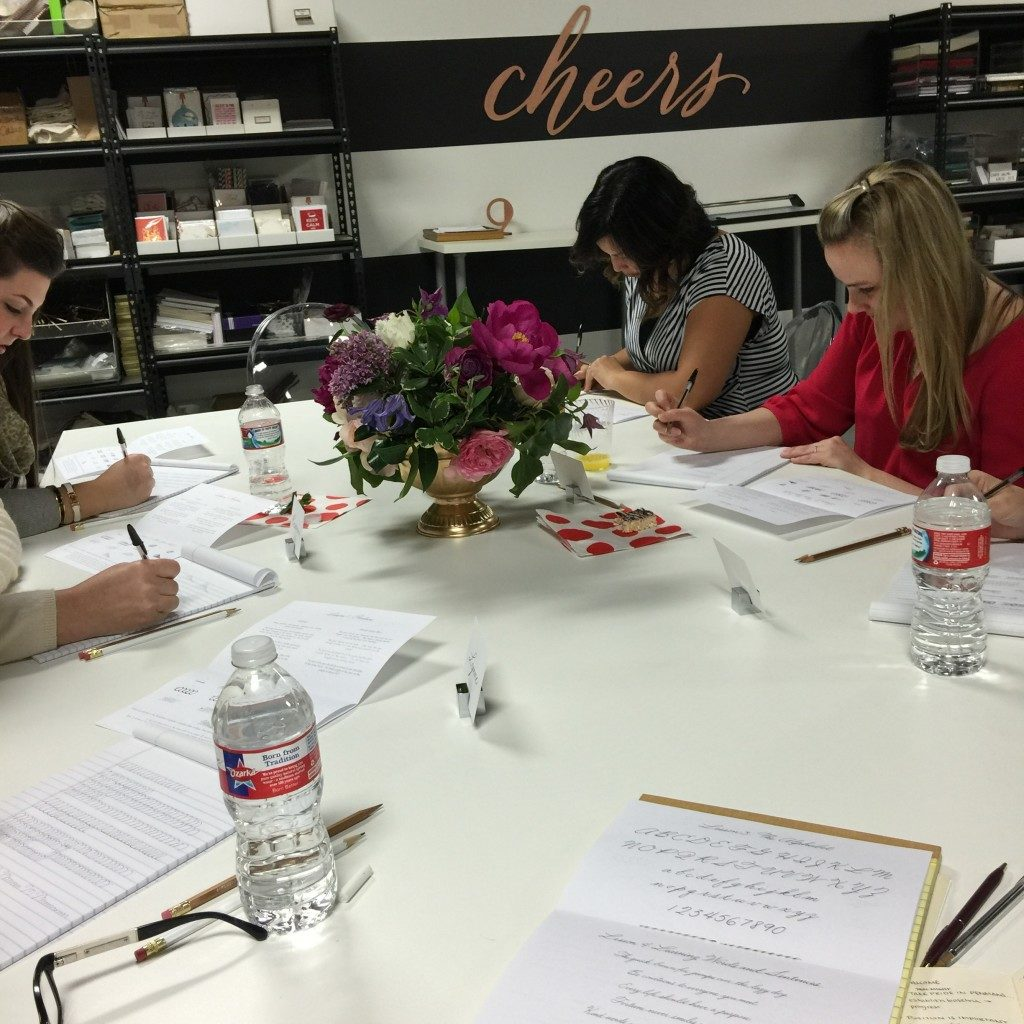 A peek inside Nicole Black's recent Pride in Penmanship calligraphy workshop at Southern Fried Paper