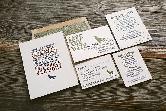 Overlook: foil and letterpress rustic wedding invitations by Bella Figura