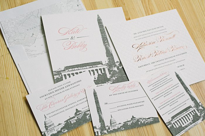 Washington D.C. inspired foil and letterpress wedding invitations | Bella Figura