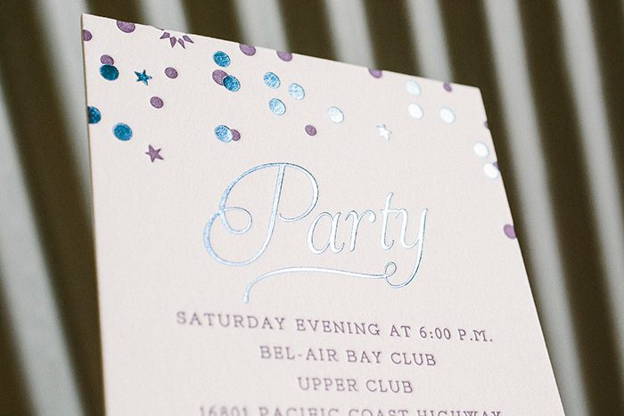 Playful and cool foil and letterpress Bat Mitzvah invitations | Bella Figura