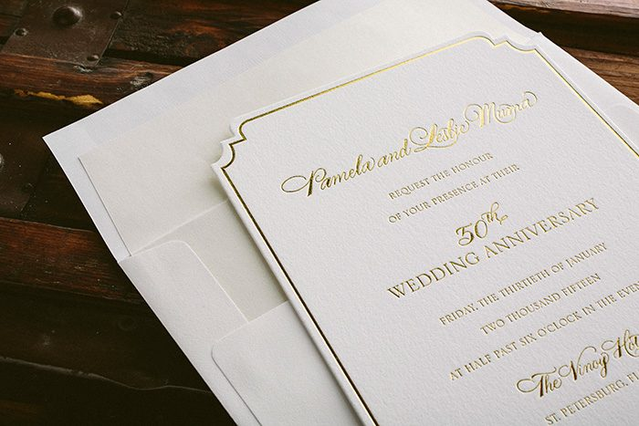 Diecut + foil stamped golden anniversary invitations | Bella Figura