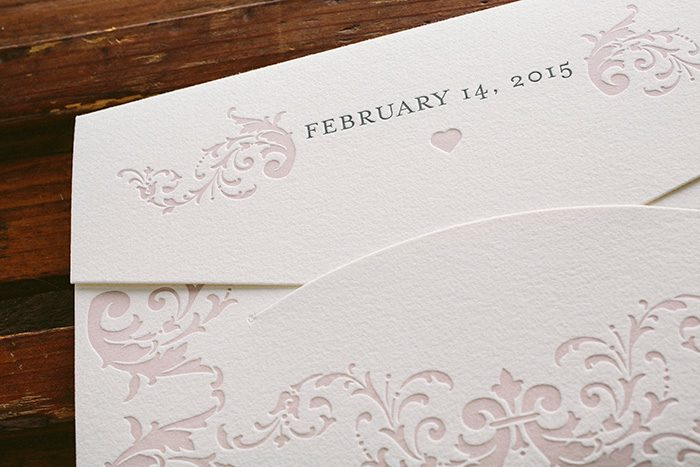letterpress and rose gold foil elegant wedding invitations | Bella Figura