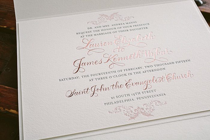 letterpress and rose gold foil elegant wedding invitations bella figura - Rose Gold Wedding Invitations