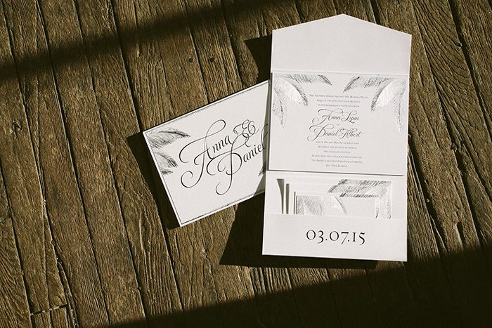 foil stamped Traditional Palm beach wedding invitations | Bella Figura