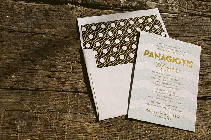 letterpress and gold foil baby christening invitations | Bella Figura
