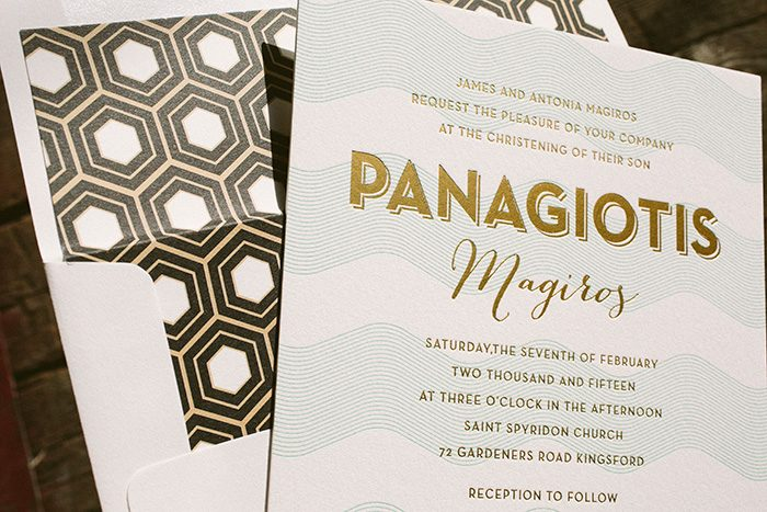 Letterpress And Gold Foil Baby Christening Invitations