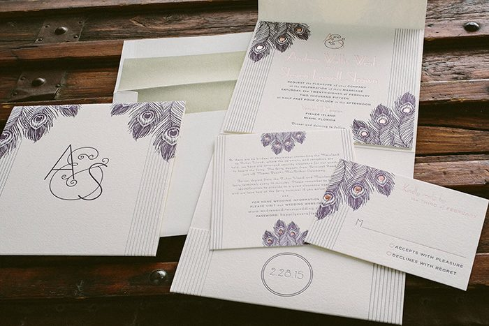 rose gold and letterpress art deco wedding invitations by Bella Figura