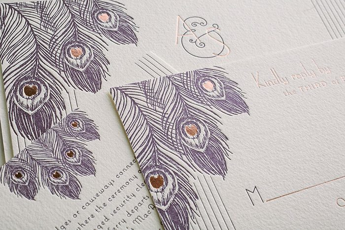 Rose gold and letterpress art deco wedding invitations for Deco maison rose gold