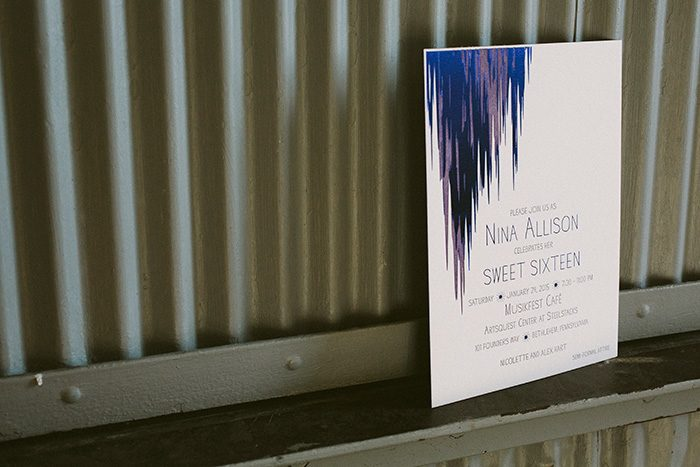 purple and blue foil stamped sweet sixteen invitations by Bella Figura