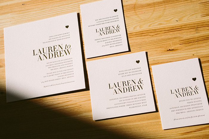 Irving: shiny gold wedding invitations | Bella Figura