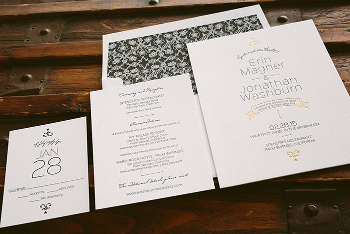 letterpress + foil stamped black and gold wedding invitations by Bella Figura