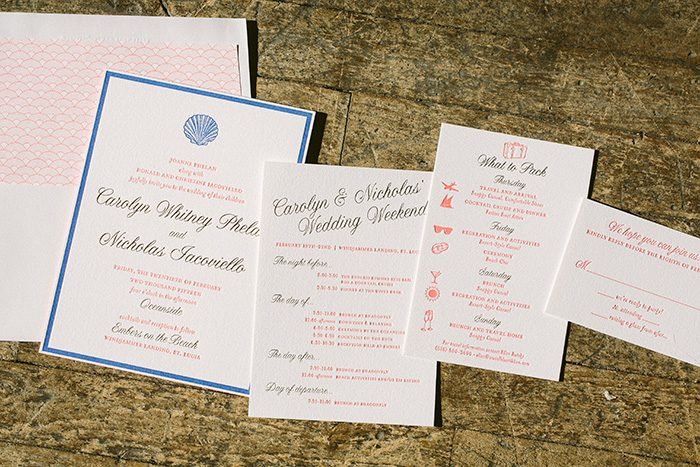 Letterpress and foil stamped beach wedding invitations | Bella Figura