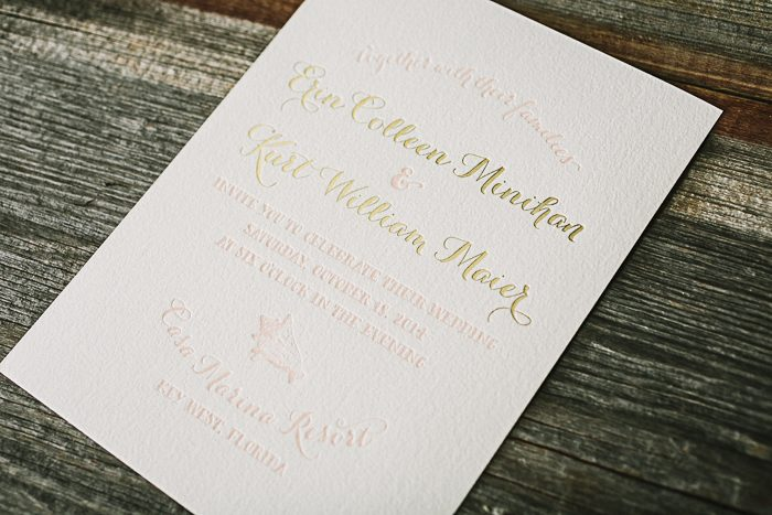 Beach inspired foil and letterpress wedding invitations | Bella Figura