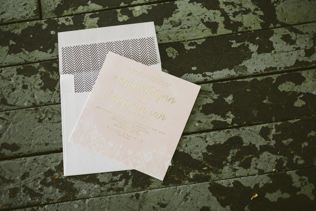 Arrowhead wedding invitations by Brenda Fox for Bella Figura