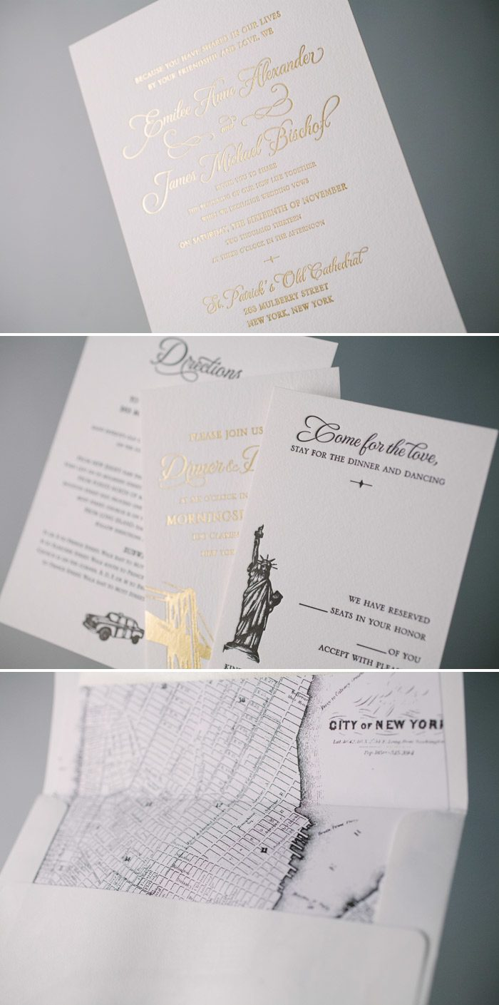 Classic Manhattan gold wedding invitations | Bella Figura