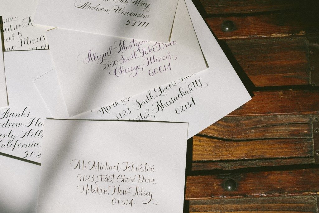 Calligraphed envelopes by Debi Zeinert for Bella Figura