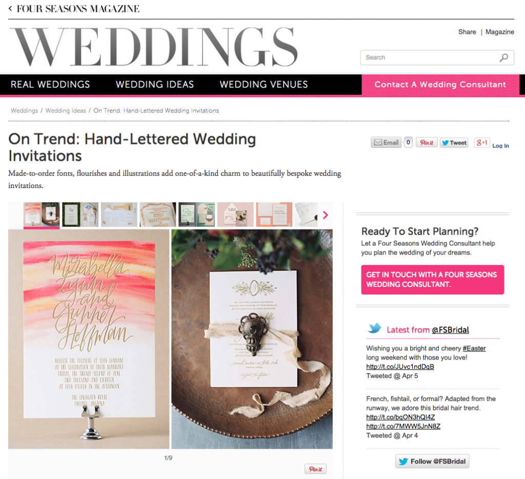 Bella Figura's Cordelia + Blush invitations featured by Four Seasons Weddings Magazine