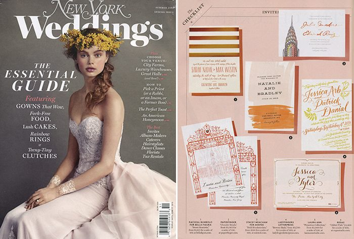 Bella Figura featured in the summer 2015 issue of New York Weddings Magazine