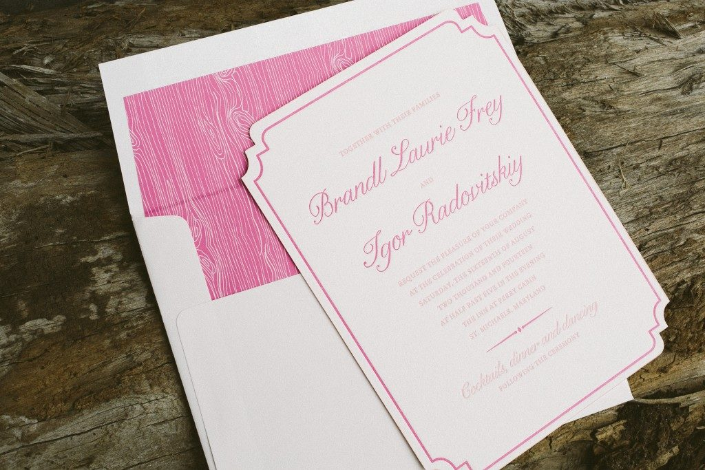 pretty in pink letterpress wedding invitations | Bella Figura