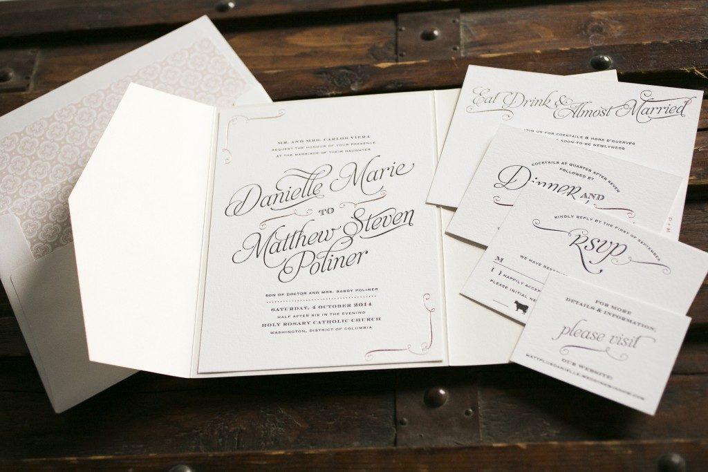 rose gold foil stamped wedding invitations | Bella Figura