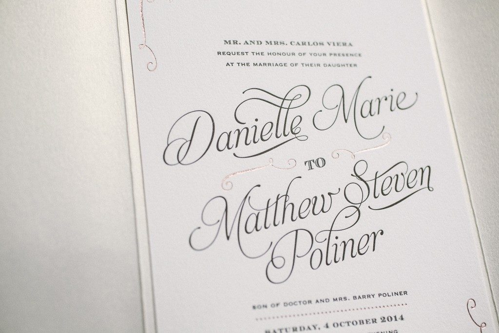 black and rose gold foil stamped wedding invitations Bella Figura