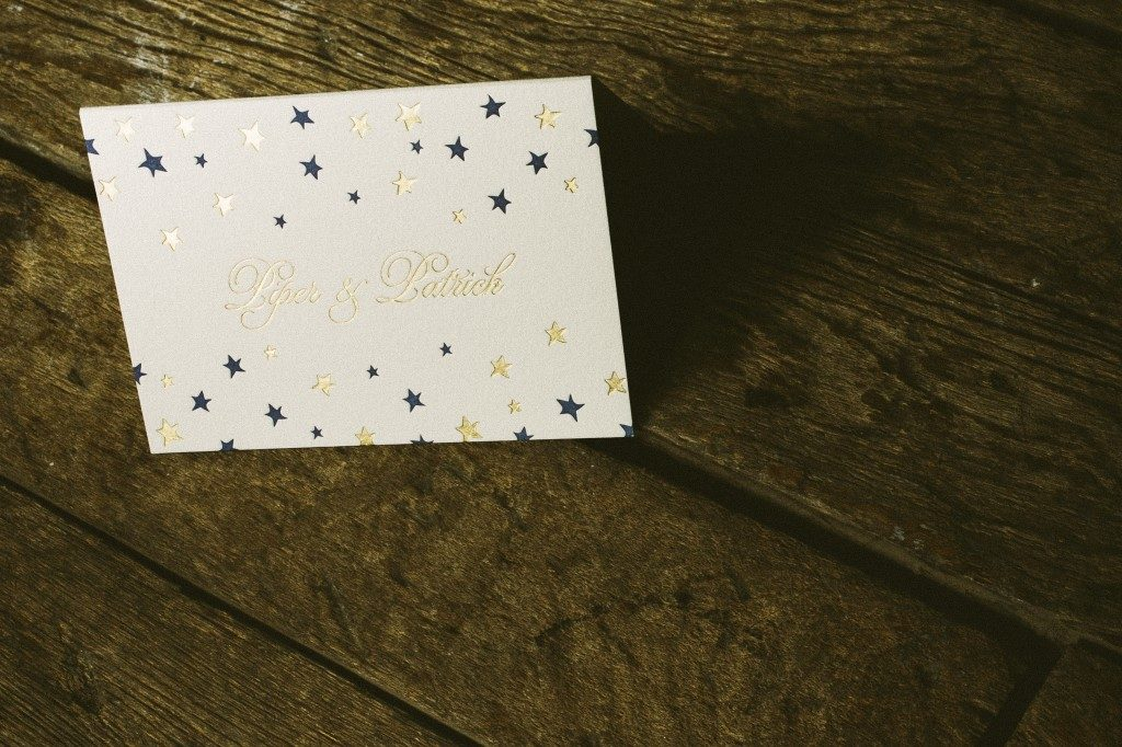 Royal Night letterpress and gold foil wedding invitations | Bella Figura