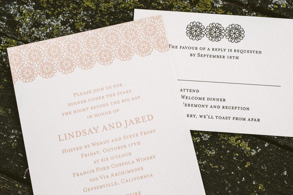 three color vintage letterpress wedding invitations | Bella Figura