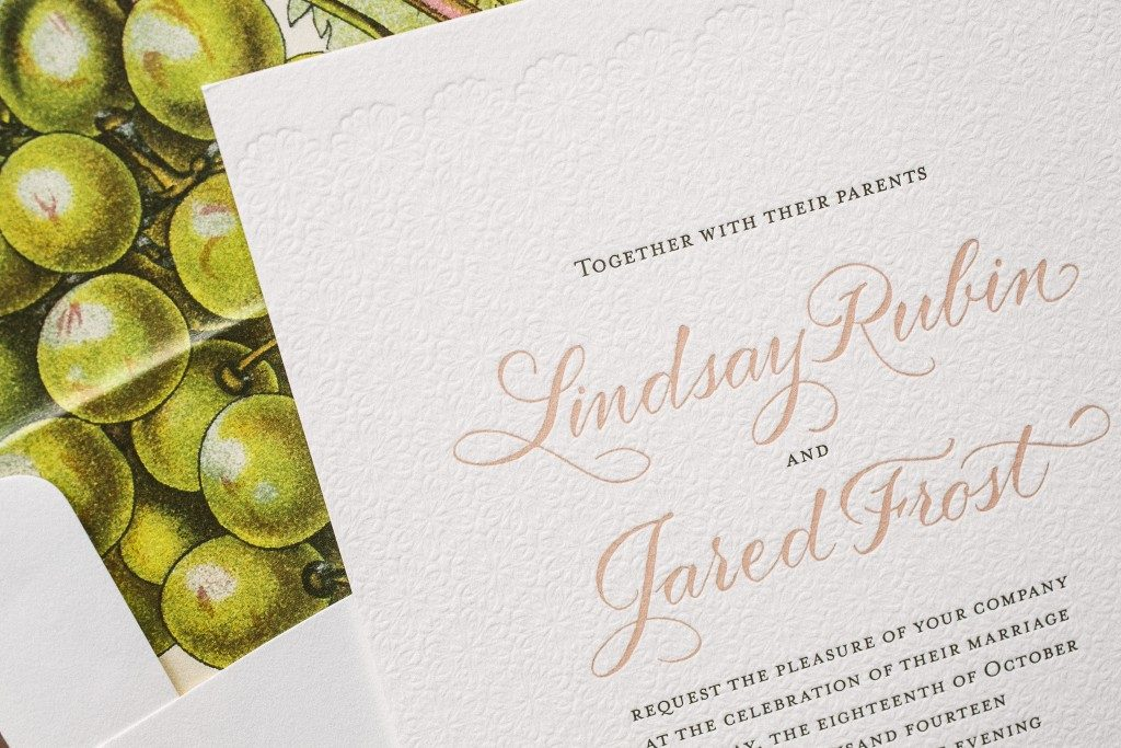three color vintage letterpress wedding invitations | Bella Figura